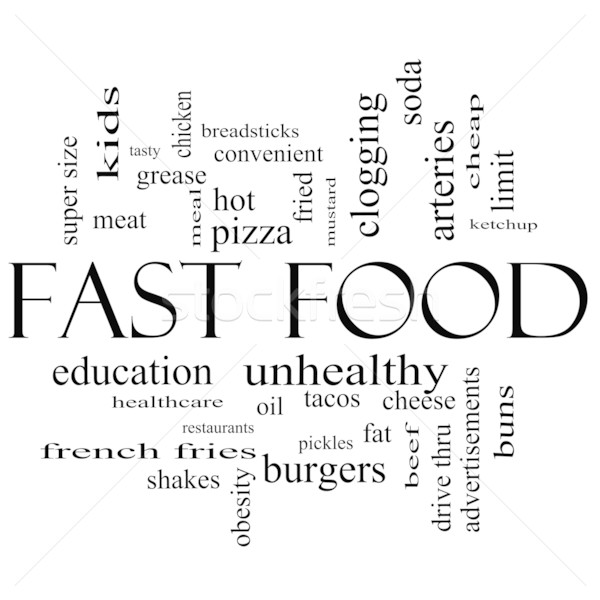 Fast Food Word Cloud Concept in Black and white Stock photo © mybaitshop