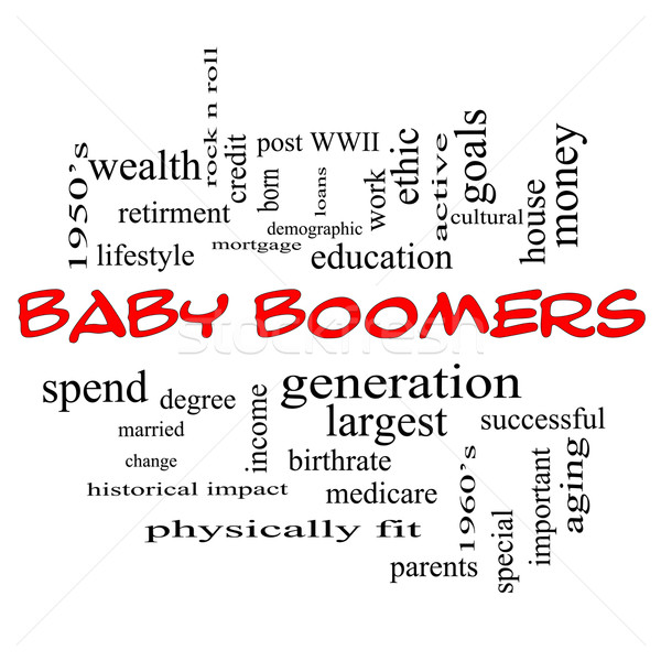 Baby Boomers Word Cloud Concept in Red Caps Stock photo © mybaitshop