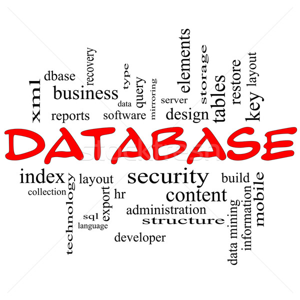Database Word Cloud Concept in Red Caps Stock photo © mybaitshop