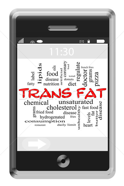 Trans Fat Word Cloud Concept on Touchscreen Phone Stock photo © mybaitshop