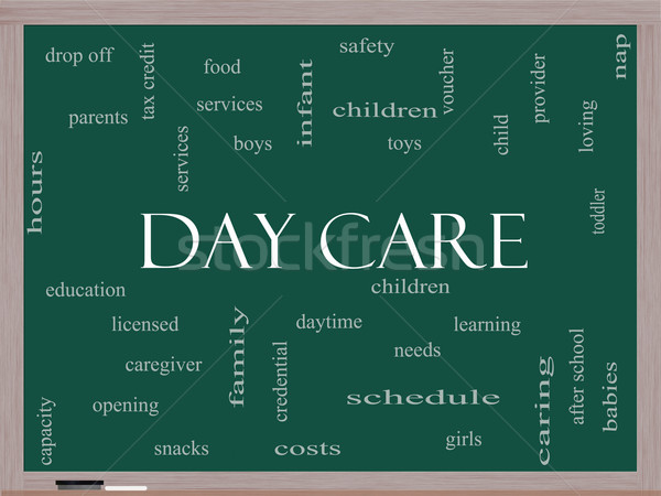 Day Care Word Cloud Concept on a Blackboard Stock photo © mybaitshop