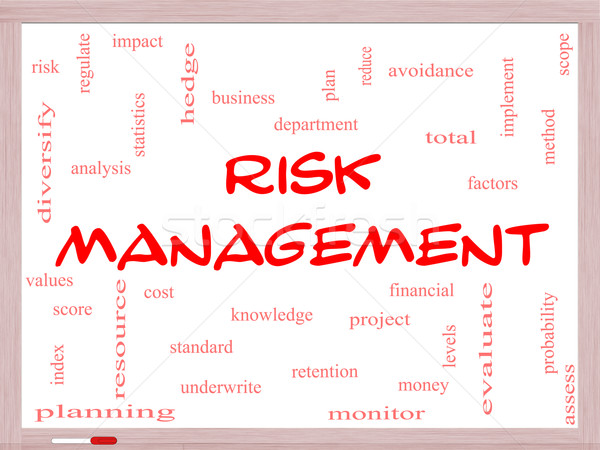 Risk Management Word Cloud Concept on a Whiteboard Stock photo © mybaitshop
