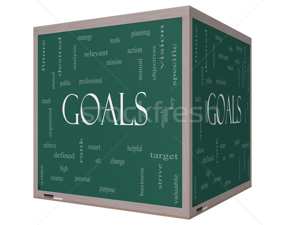 Goals Word Cloud Concept on a 3D cube Blackboard Stock photo © mybaitshop