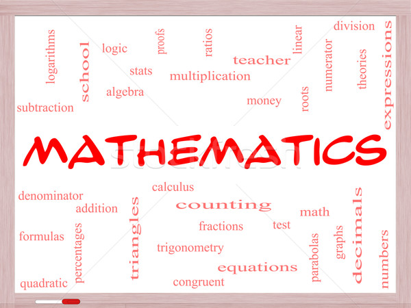 Mathematics Word Cloud Concept on a Whiteboard Stock photo © mybaitshop