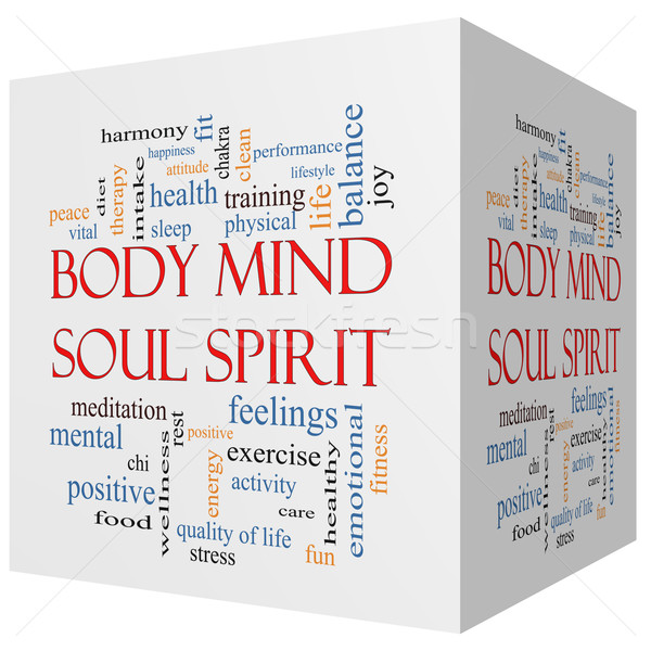 Body Mind Soul Spirit 3D cube Word Cloud Concept Stock photo © mybaitshop