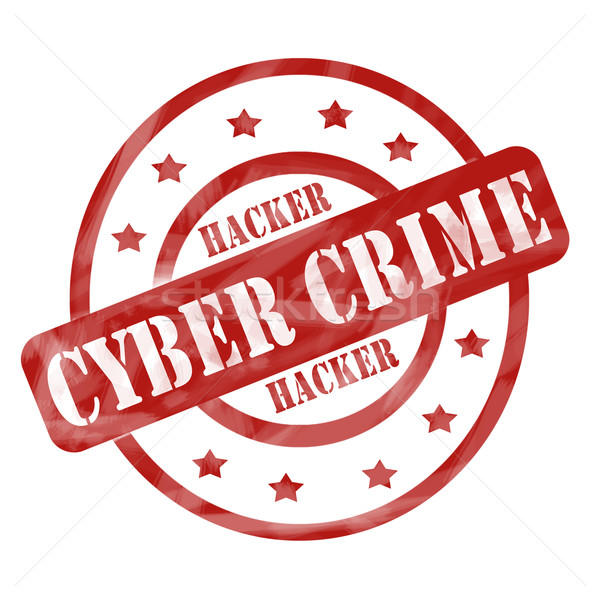 Red Weathered Cyber Crime Stamp Circles and Stars Stock photo © mybaitshop
