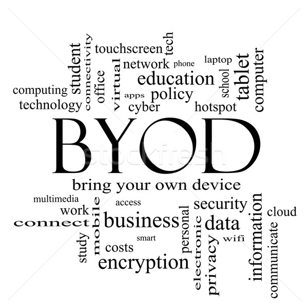 BYOD Word Cloud Concept in black and white Stock photo © mybaitshop