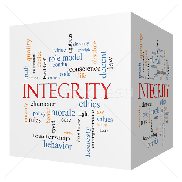 Integrity 3D cube Word Cloud Concept Stock photo © mybaitshop
