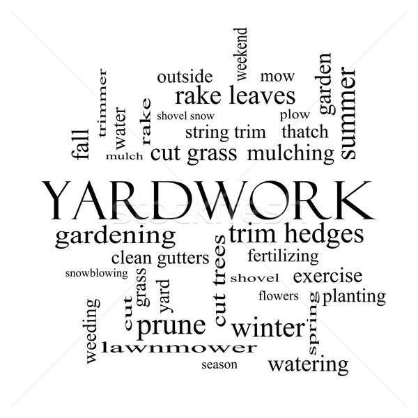 Yardwork Word Cloud Concept in black and white Stock photo © mybaitshop
