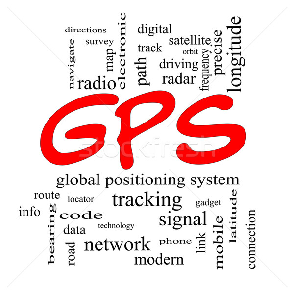 GPS Word Cloud Concept in red caps Stock photo © mybaitshop