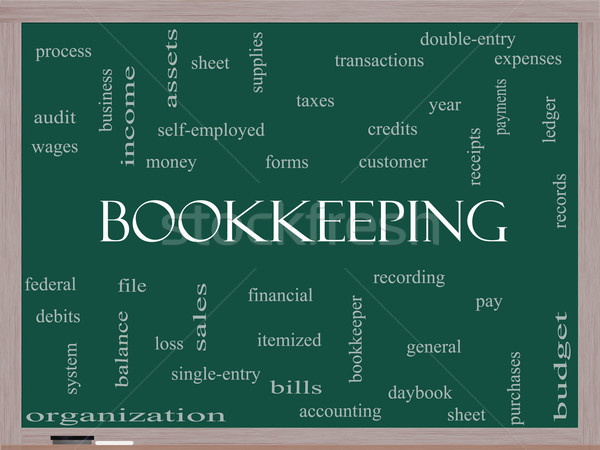 Bookkeeping Word Cloud Concept on a Blackboard Stock photo © mybaitshop