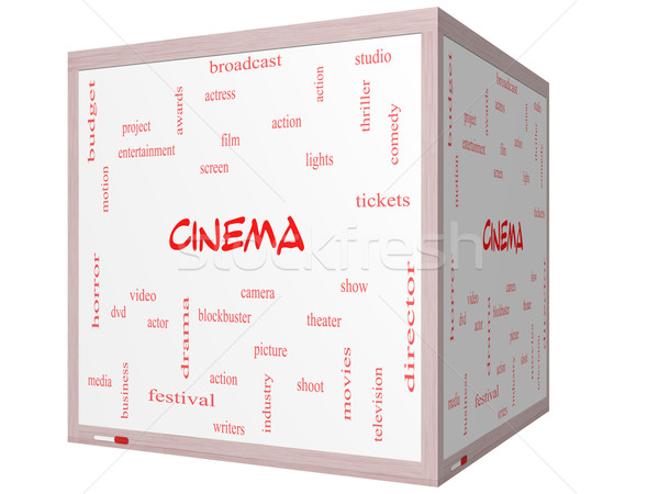 Cinema Word Cloud Concept on a 3D cube Whiteboard Stock photo © mybaitshop