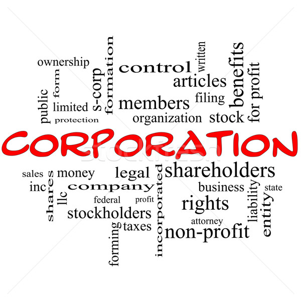 Corporation Word Cloud Concept in red caps Stock photo © mybaitshop