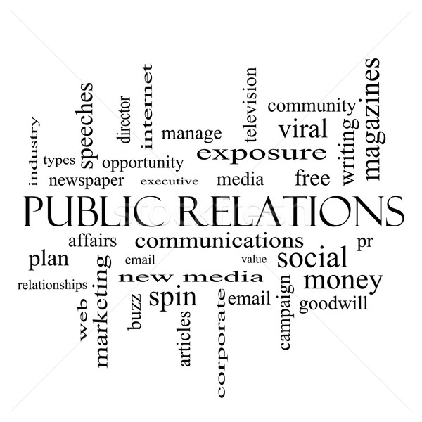Public Relations Word Cloud Concept in black and white Stock photo © mybaitshop