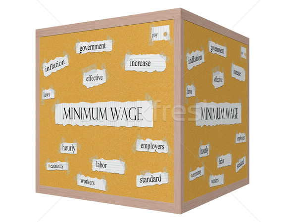Minimum Wage 3D cube Corkboard Word Concept Stock photo © mybaitshop