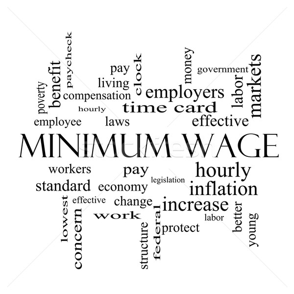 Minimum Wage Word Cloud Concept in black and white Stock photo © mybaitshop