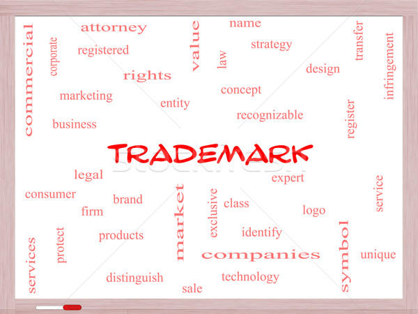 Trademark Word Cloud Concept on a Whiteboard Stock photo © mybaitshop
