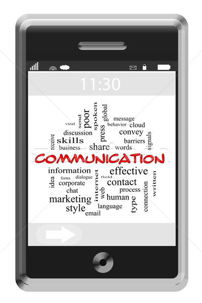 Communication Word Cloud Concept on a Touchscreen Phone Stock photo © mybaitshop