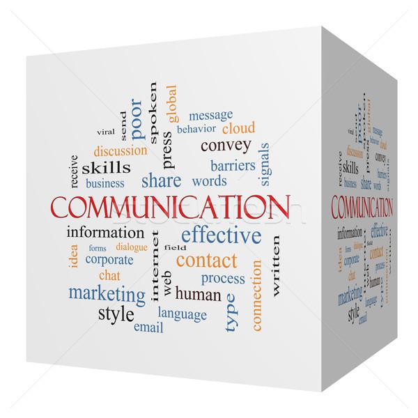 Kommunikáció 3D kocka szófelhő nagyszerű vállalati Stock fotó © mybaitshop