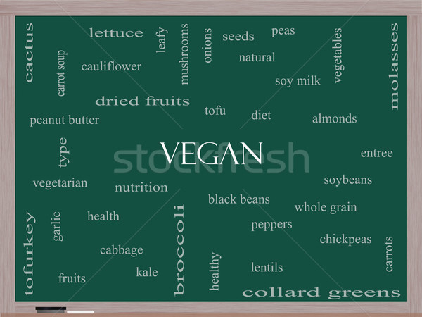 Vegan Word Cloud Concept on a Blackboard Stock photo © mybaitshop