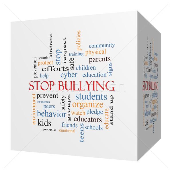 Stop megfélemlítés 3D kocka szófelhő nagyszerű Stock fotó © mybaitshop