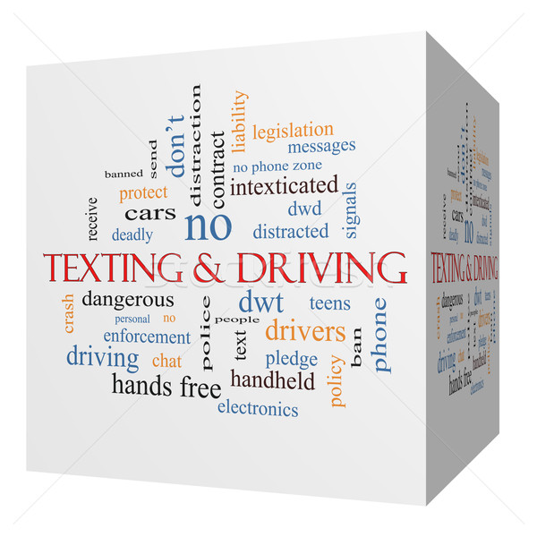 Texting and Driving 3D cube Word Cloud Concept Stock photo © mybaitshop