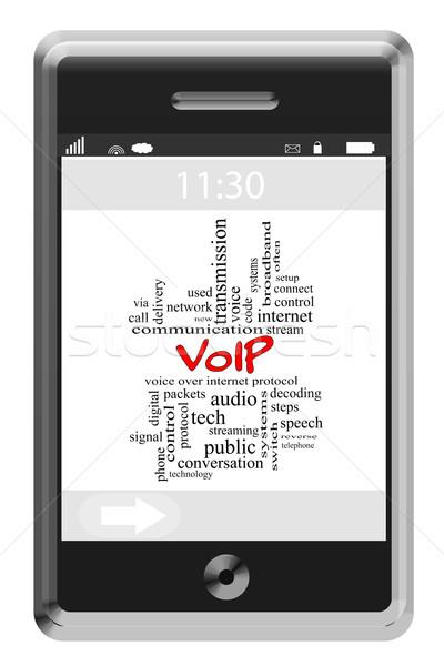 Voip chmura słowo ekran dotykowy telefonu głos Zdjęcia stock © mybaitshop