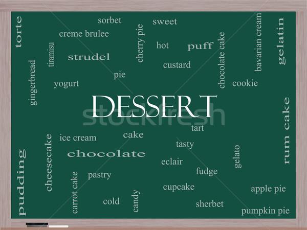 Stockfoto: Dessert · woordwolk · Blackboard · groot · zoete · cake