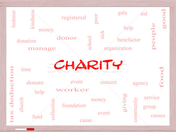 Charity Word Cloud Concept on a Whiteboard Stock photo © mybaitshop
