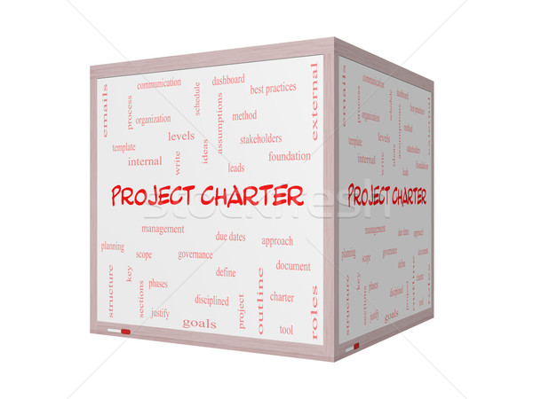 Project Charter Word Cloud Concept on a 3D Whiteboard Stock photo © mybaitshop
