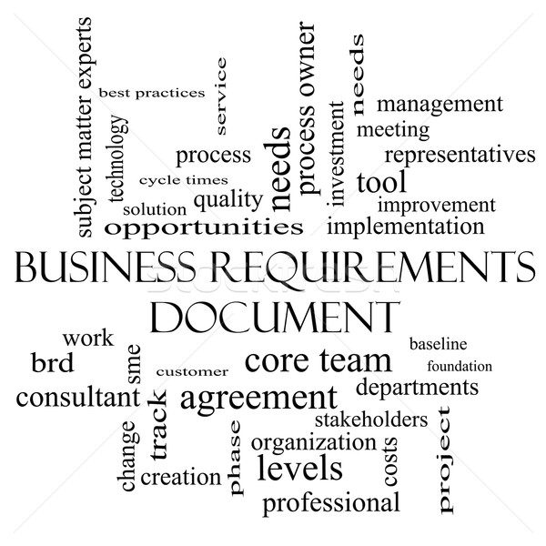 Business Requirements Document Word Cloud Concept in black and white Stock photo © mybaitshop