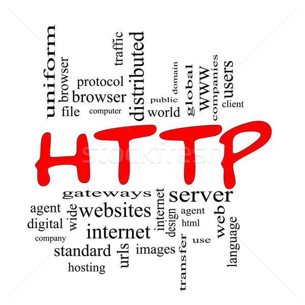 HTTP Word Cloud Concept scribbled in Red Stock photo © mybaitshop