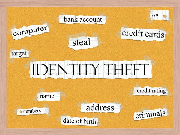 Kradzież tożsamości słowo banku konto karty kredytowe Zdjęcia stock © mybaitshop