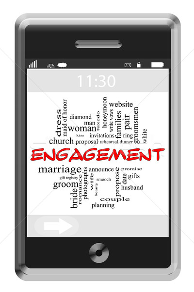 Engagement Word Cloud Concept on Touchscreen Phone Stock photo © mybaitshop