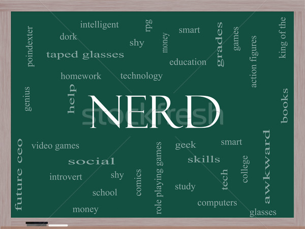 Nerd Word Cloud Concept on a Blackboard Stock photo © mybaitshop
