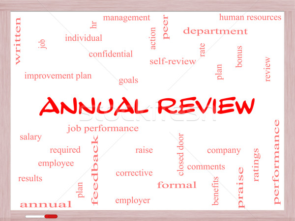 Annual Review Word Cloud Concept on a Whiteboard Stock photo © mybaitshop