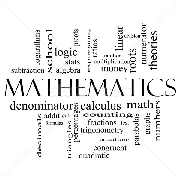 Mathematics Word Cloud Concept in black and white Stock photo © mybaitshop