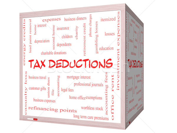 Stock photo: Tax Deductions Word Cloud Concept on a 3D cube Whiteboard