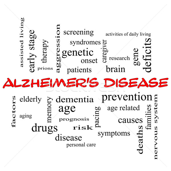 Alzheimer's Disease Word Cloud Concept in red caps Stock photo © mybaitshop