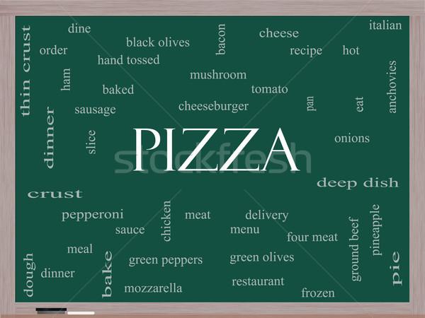 Pizza szófelhő iskolatábla nagyszerű pepperoni menü Stock fotó © mybaitshop