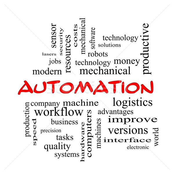 автоматизация слово облако красный машина Сток-фото © mybaitshop