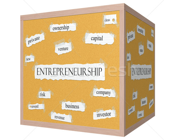Entrepreneurship 3D cube Corkboard Word Concept Stock photo © mybaitshop