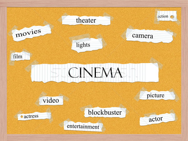 Bioscoop woord groot foto acteur blockbuster Stockfoto © mybaitshop