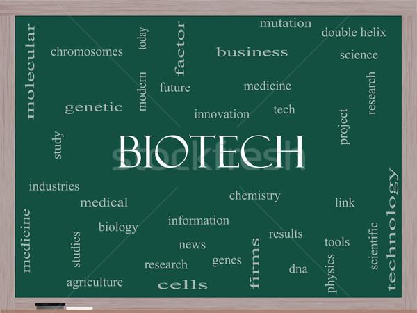 Biyoteknoloji kelime bulutu tahta muhteşem tıbbi DNA Stok fotoğraf © mybaitshop