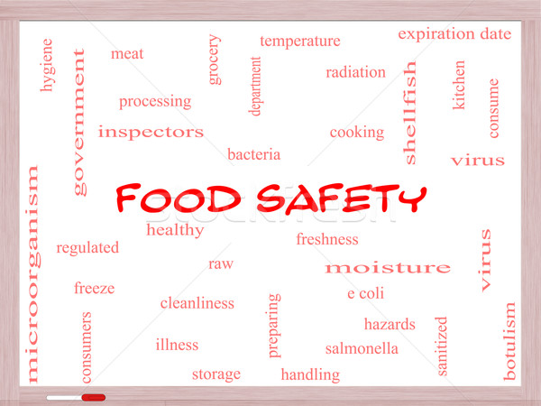 Food Safety Word Cloud Concept on a Whiteboard Stock photo © mybaitshop