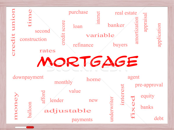 Mortgage Word Cloud Concept on a Whiteboard Stock photo © mybaitshop