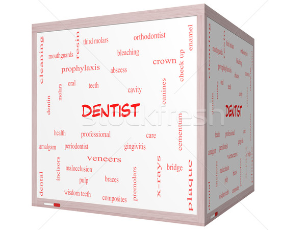 Dentista word cloud 3D cubo Foto d'archivio © mybaitshop