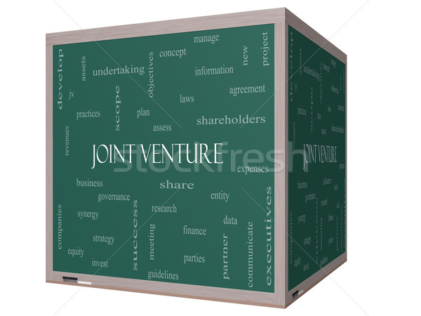 Joint Venture Word Cloud Concept on a 3D cube Blackboard Stock photo © mybaitshop