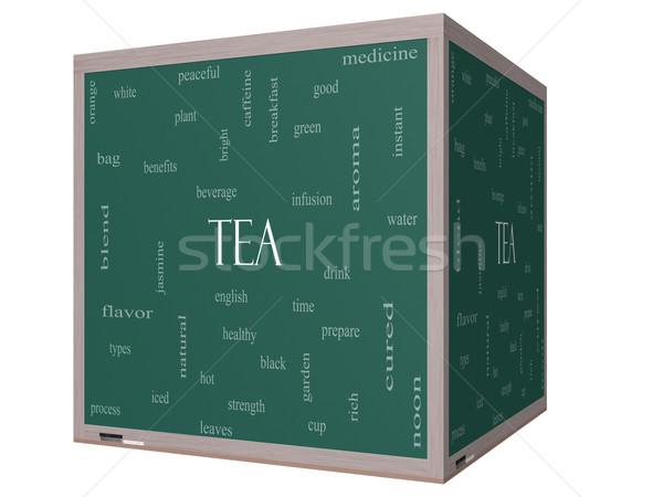 Tea Word Cloud Concept on a 3D cube Blackboard Stock photo © mybaitshop