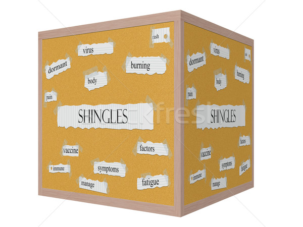 Shingles 3D cube Corkboard Word Concept Stock photo © mybaitshop
